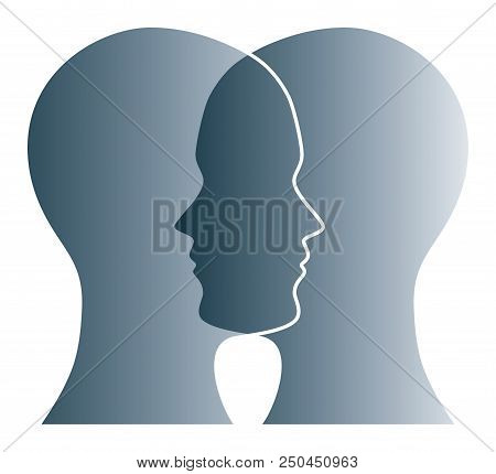 Gray Silhouettes Of Two Heads