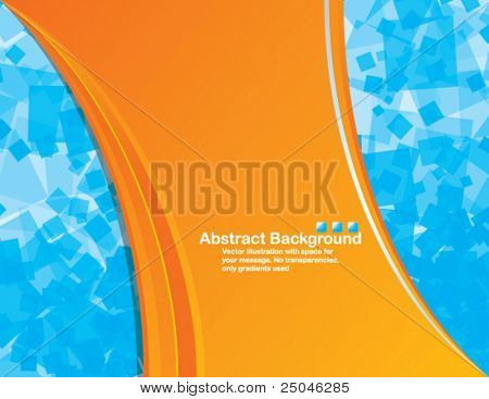 Abstract vector orange  background with transparent random blue squares and space for your message. No
