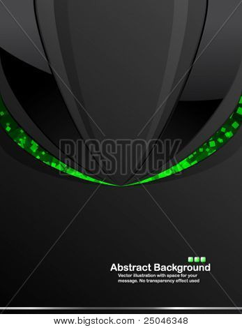 Dark background with random transparent green squares. Vector illustration in RGB colors.