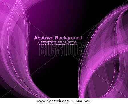 Abstract  purple transparent waves on black  background. Vector illustration in RGB colors.