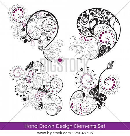 Hand drawn design elements set. You can change colors and use it to create your own composition.