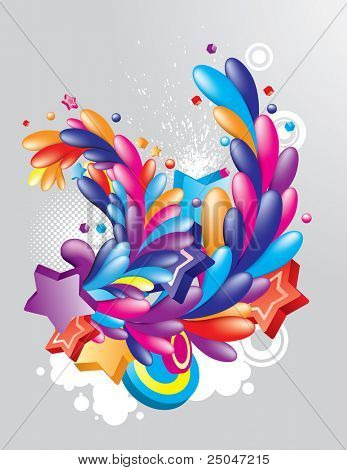Colorful festive design element on grunge background