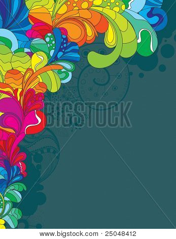 Colorful hand drawn design with space for your message