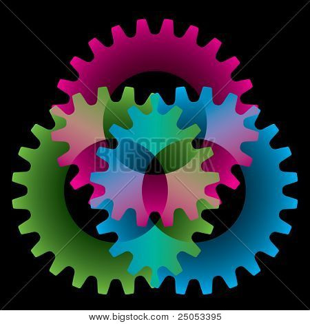 Tree colored gears isolated on black (settings or amalgamation icon)