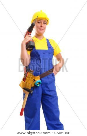 Female Builder With Driller