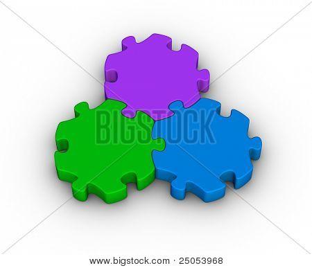 three jigsaw pieces (unity symbol)