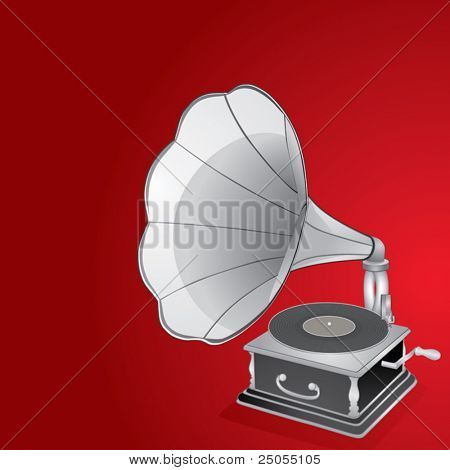 Gramophone on a red background
