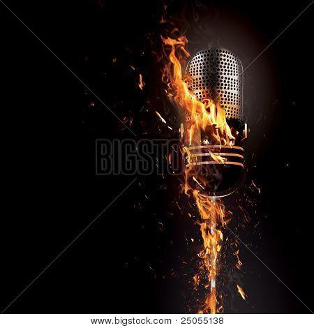 Burning microphone on a dark background