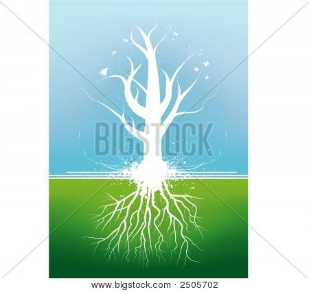Beautiful Tree With Roots In Summer On A Mesh Blue