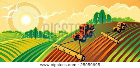 Spring country landscape with two tractors