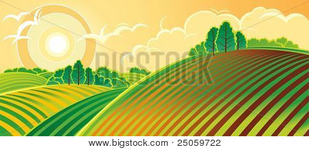 País paisaje de primavera