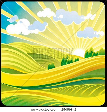 Summer solar landscape with hills and clouds