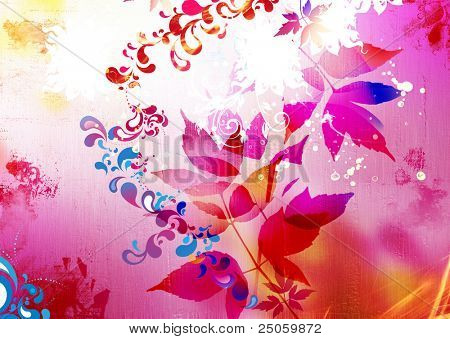 bright colorful background with leaves