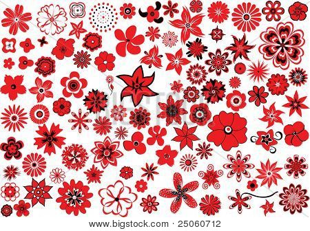 100 flowers, red-and-black over white