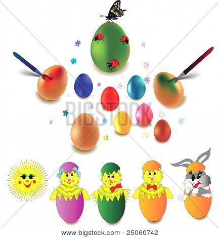Set of Easter eggs, rabbit and chicken over white