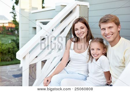 Happy family on the porch