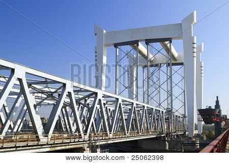Railway Bridge Across The River Maas