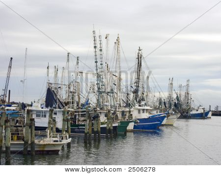 Shrimp Boats At Dock