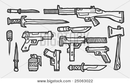 Hand-drawn weapons. Vector illustration.