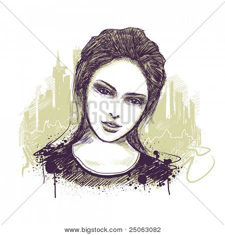 Young girl portrait. Vector illustration.