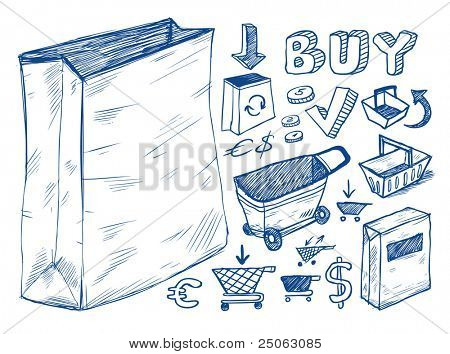 Shopping doodles collection. Hand-drawn illustration.
