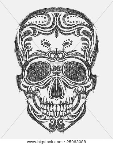Hand-drawn skull illustration. Vector image.