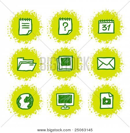 Hand-drawn web icons set. Vector illustration.