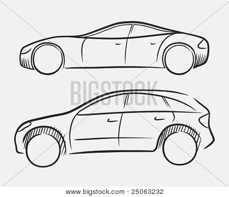 Hand-drawn luxury cars. Vector illustration.