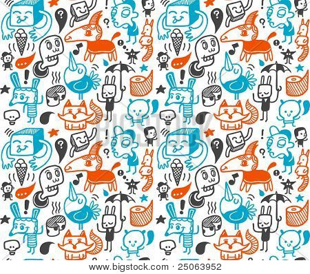 lustige Kreaturen-Auflistung. Seamless Pattern. Vektor-Illustration.