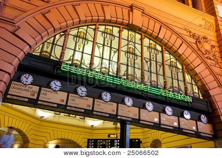"The clocks at Flinders Street Station, Melbourne, Australia.  ""Under the clocks"" is a traditional Melbourne meeting place."