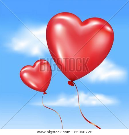 Vector. Inflated heart-shaped balloons in vector sky