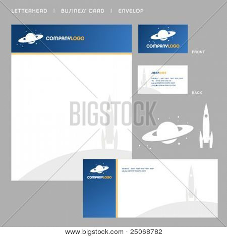 Clean vector letterhead, business card and envelop 3