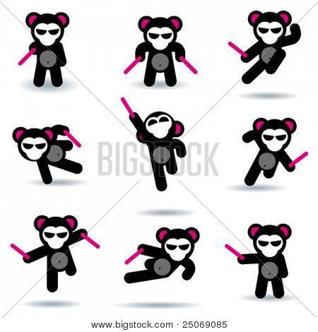 Set of nine ninja bears.