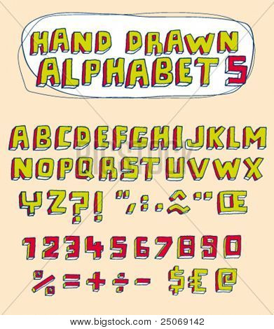 Vector hand drawn alphabet for designer 5. Change easily the colors as you wish.