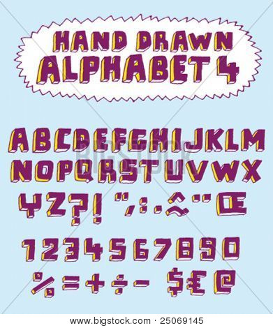 Vector hand drawn alphabet for designer 4. Change easily the colors as you wish.