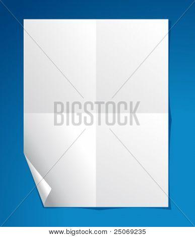 Libro blanco, rizado y doblado. Editable.