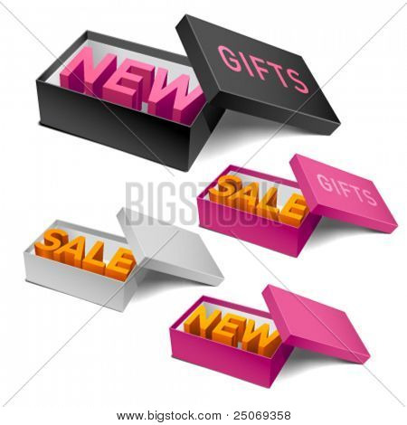 Retail boxes. Editable vector.