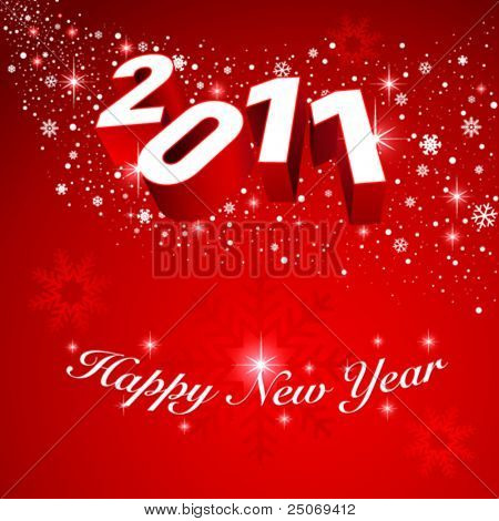 2011 vector greeting card. Editable. No mesh.