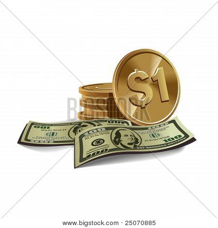 Dollars banknotes and coints