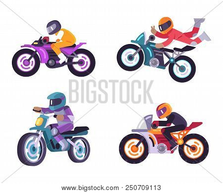 poster of Motorized Bike Racers Bicyclist Isolated On White Background, People On Moped Sportbikes Vector Illu