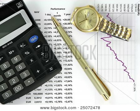 Table of investment funds performance, diagram, calculator, pen and wristwatch.