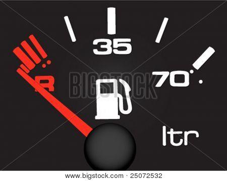 Vector. Medidor de gasolina sobre el fondo negro.
