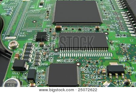 Microcircuit board with three processors.