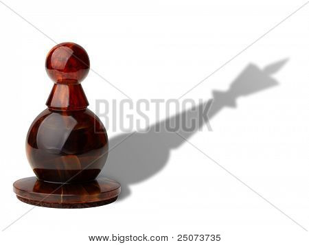 Chess pawn with king's shadow isolated on white background, clipping path included.