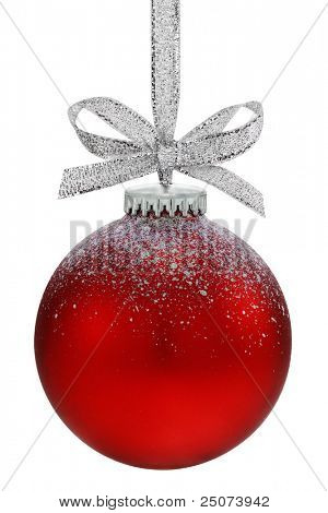 Christmas ball, hanging from a ribbon, isolated on the white background, clipping path included.