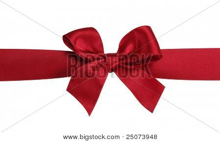 Red gift bow with ribbon isolated on the white background,  clipping path included.
