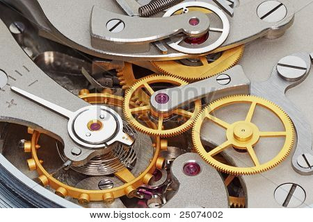 Close-up of metal clock works.
