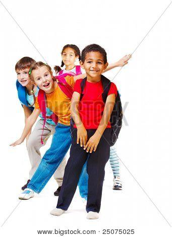 Fröhlich Studenten der Grundschulkind, weiß