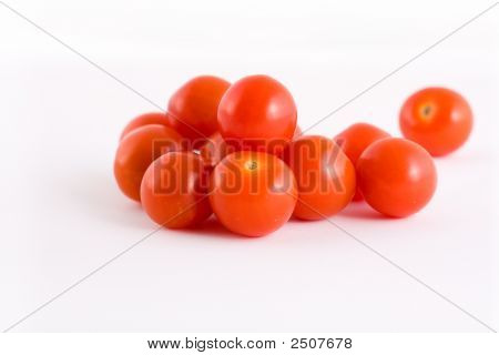 Cherry Vine Tomatoes Isolated On A White Background