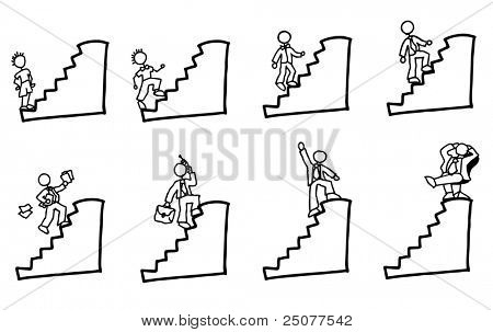 hand drawn stick figure businessman climbing up the stairs